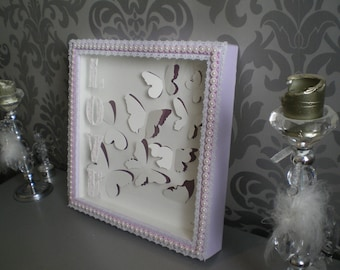 "Frame window ""Embossed butterflies"" Purple and white"