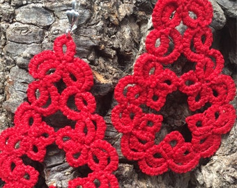 Large bright red cotton tatted lace earrings