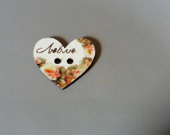 pretty heart embellishment wooden button