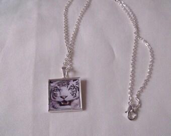 LIQUIDATION necklace silver chain pendant white tiger