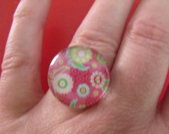 rose cabochon 20mm floral glass ring