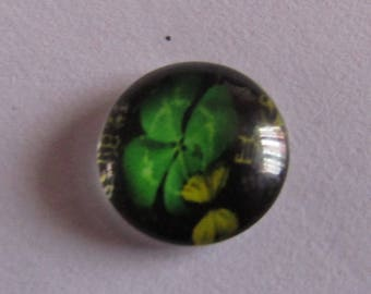 12mm glass cabochon theme clover with 4 leaves