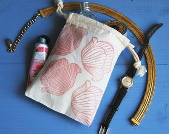 "Handprinted ""papaveri"" cotton purse"