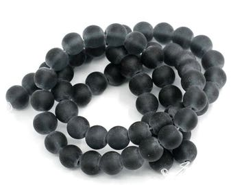 10 round 10 mm hole: 1 mm black glass beads