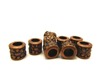 12 copper metal ornate 0.8 cm hole 5 mm tube beads