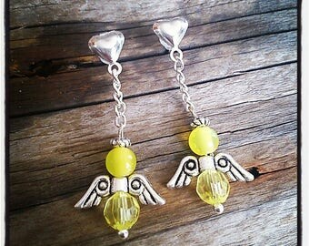 Earrings silver heart and Angel beads yellow