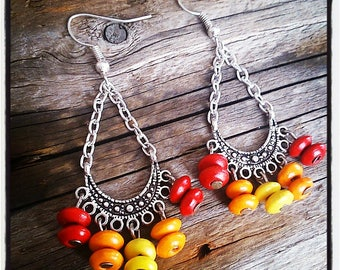 ethnic earrings silver and yellow, orange and Red wooden beads
