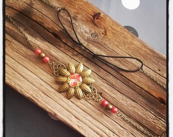 Head Band bronze flower headband / red flower cabochon and beads