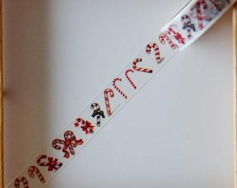 "Masking tape - pattern ""Candy CANE"" - 1.5 cm x 10 m"
