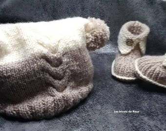 Set hat and booties, size 0/3 months