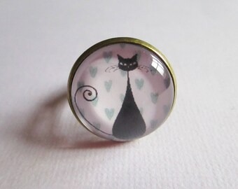 """""""Le Chat"""", bronze cabochon, costume jewelry ring"""