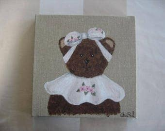 Free shipping! Clementine bear painting