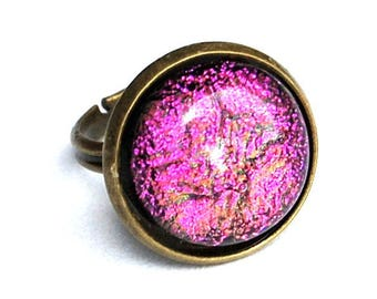 Round ring in technique of fusing Dichroic Glass - pink - Adjustable ring