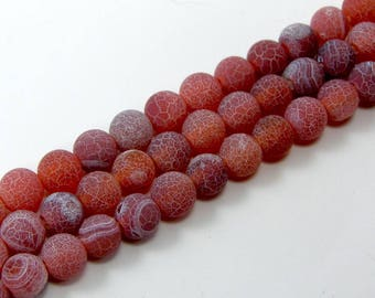 Pearl agate eflorescence 6 mm red set of 10
