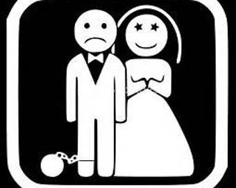 Funny bride and groom decal