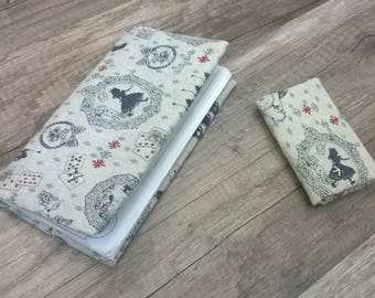 """Duo fabric wallet and checkbook """"Alice in Wonderland"""""""