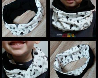 "Scarf snood reversible neck Kids Jersey version ""Cactus"" by Fannygloo spring"