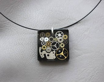 Round neck + square steampunk watch parts and resin pendant