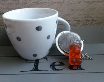 Ball tea Infuser, stainless steel, bear candy orange resin