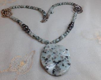 Seventies necklace Jasper Lotus and hematite
