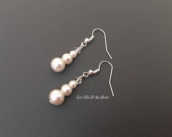 Hula earrings in ivory with Swarovski rhinestones