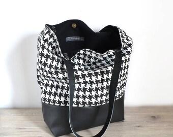 Houndstooth print hand bag