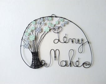 Initials wire core, customizable, tree of life with its 2 names