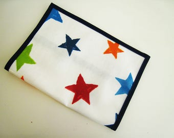 Health booklet protection cover oilcloth pattern red and blue stars