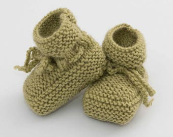 woolen slippers for baby, handmade, lime green