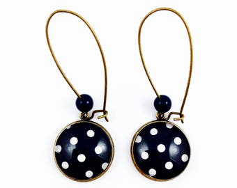 Bronze earrings * cabochon * white dots on dark blue background