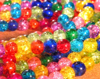 glass Crackle - 8 mm - multicolor PE232 90 beads