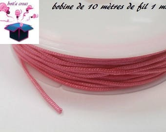 spool of 10 meters of synthetic thread 1 mm dark pink