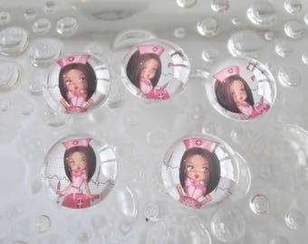 5 series miss nurse 18mm domed glass cabochons