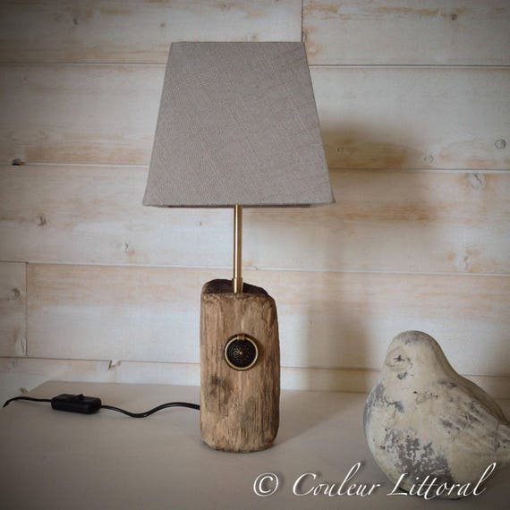 lampe poser avec pied en bois flott. Black Bedroom Furniture Sets. Home Design Ideas