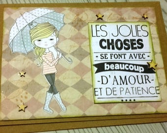 greeting card with girl and her umbrella (any occasion)