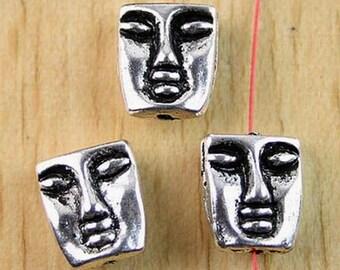 Pearls face of Buddha X 6 Tibetan silver nickel