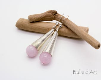 Rose Quartz cone stones earrings