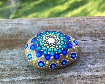 Mandala stone in blues and greens
