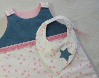 baby girl sleeping bag 0/6 months pink stars