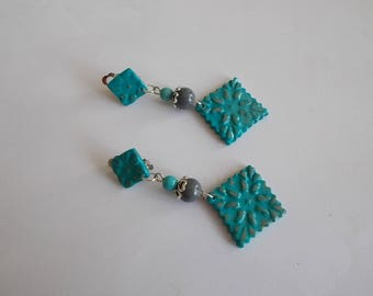 clips in gray and turquoise earrings