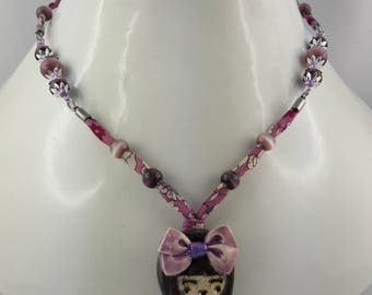 Necklace with figure of ceramics/cat/lace eye manga liberty