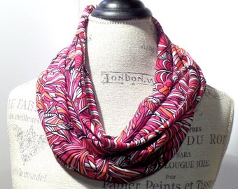 Infinity Scarf Made with ITY Knit Stretch Fabric in Pink, Red, Purple and White Leaves Print