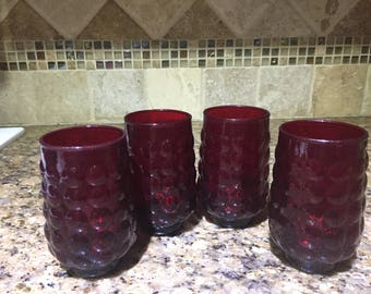 4 Ruby red bubble glass juice glasses