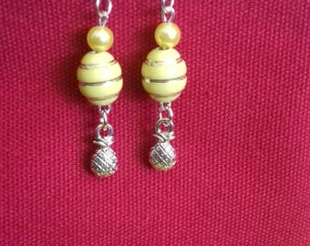 Pineapple yellow charms beads Silver earrings