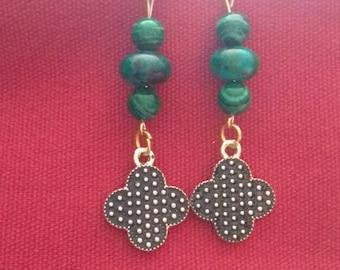 Pearl enamel clover charm earrings