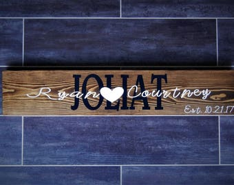 Personalized Last Name and Established Wooden Sign Wedding Gift
