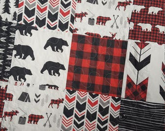 Gingham Bear Baby/Toddler Quilt, Woodland Quilt, Deer Quilt, Buffalo Plaid Bedding, Adventure, Boy Bedding, Camping, Red and Black
