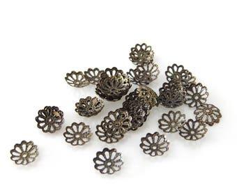 X 30 beads rondelles in bronze metal flower decor
