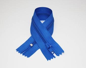 Zip closure, 18 cm, blue, not separable