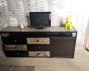 Furniture industrial tv blackened steel and solid grey tree